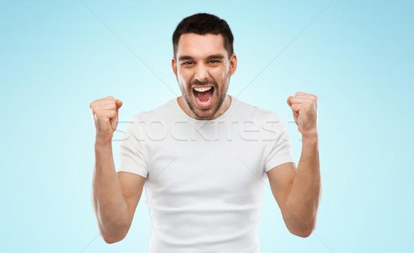 Joven victoria azul gris emoción Foto stock © dolgachov