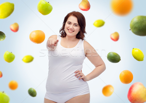 プラスサイズ 女性 下着 ポインティング ジェスチャー 健康的な食事 ストックフォト © dolgachov