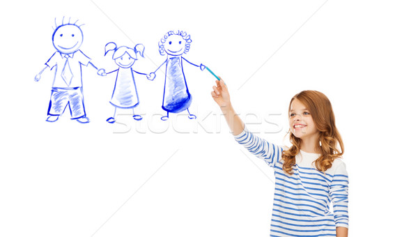 girl drawing family in the air Stock photo © dolgachov