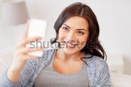 幸せ 女性 スマートフォン ホーム 人 ストックフォト © dolgachov