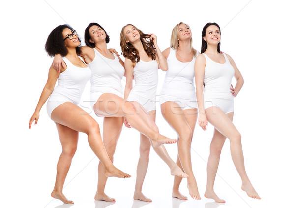 Gruppe glücklich unterschiedlich Frauen weiß Unterwäsche Stock foto © dolgachov
