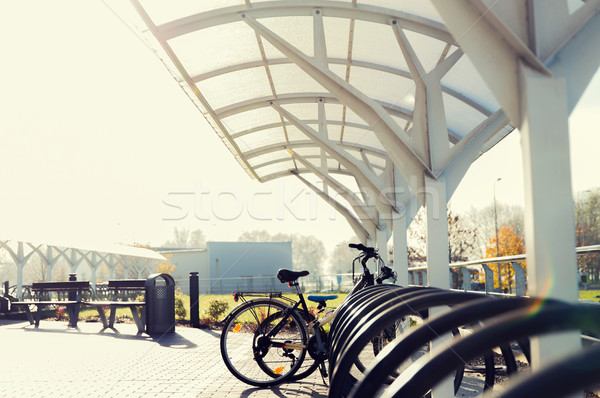 close up of bicycle street parking outdoors Stock photo © dolgachov