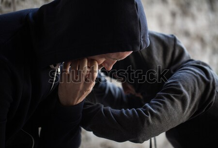 close up of addicts on street Stock photo © dolgachov