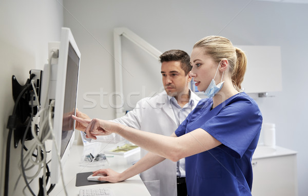Dentistas Xray supervisar dentales clínica personas Foto stock © dolgachov
