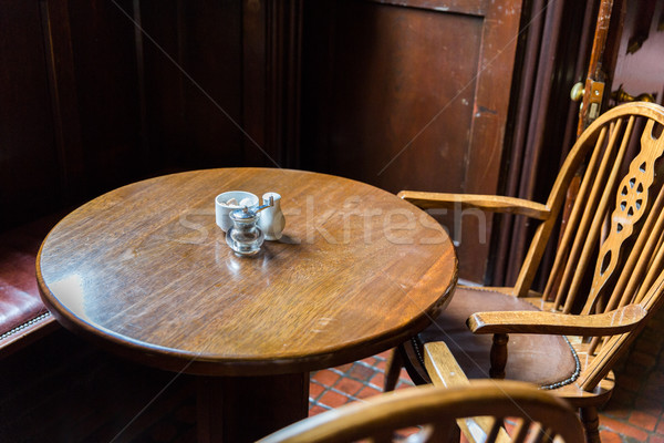 close up of vintage table and chairs in irish pub Stock photo © dolgachov
