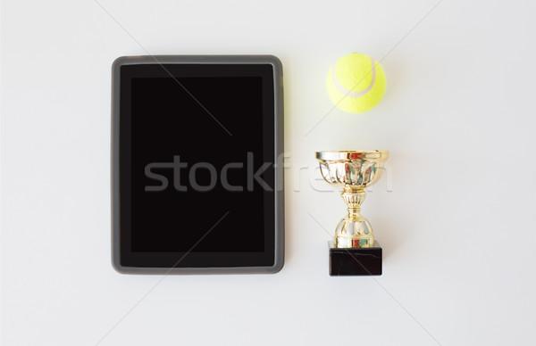 Tennisbal beker sport prestatie Stockfoto © dolgachov