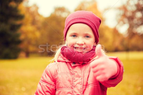 Mutlu küçük kız sonbahar park Stok fotoğraf © dolgachov