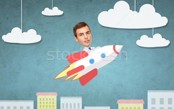 Foto stock: Empresário · voador · foguete · acima · desenho · animado · cidade