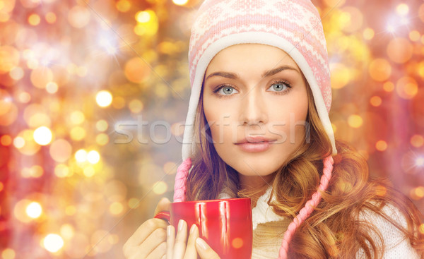 若い女性 冬 服 茶碗 休日 クリスマス ストックフォト © dolgachov