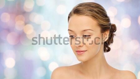 Közelkép gyönyörű nő arc fülbevaló szépség ékszerek Stock fotó © dolgachov