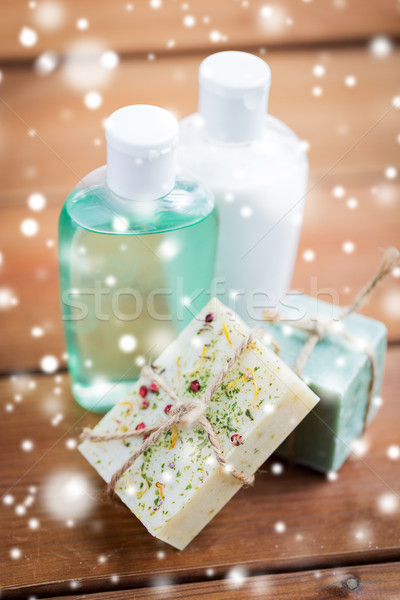 handmade soap bars and lotions on wood Stock photo © dolgachov