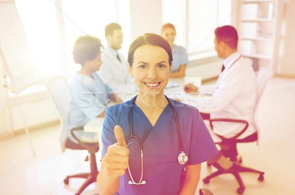 счастливым врач группа больницу жест Сток-фото © dolgachov