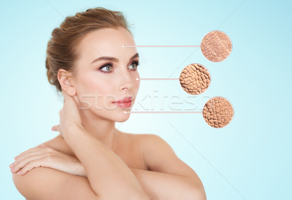 Belo mulher jovem cara secar pele amostra Foto stock © dolgachov