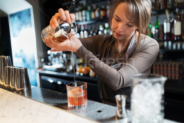 Vidrio jarra cóctel alcohol bebidas personas Foto stock © dolgachov