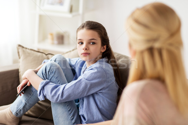 sad girl with mother sitting on sofa at home Stock photo © dolgachov