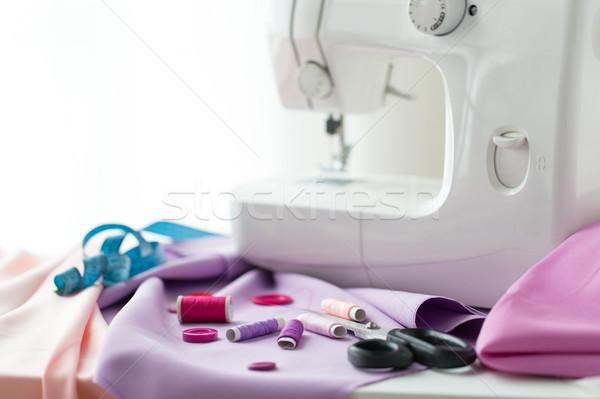 ミシン はさみ ボタン ファブリック 裁縫 技術 ストックフォト © dolgachov
