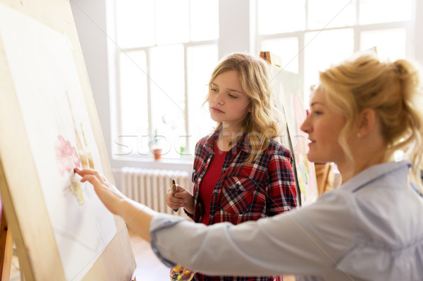 student and teacher with easel at art school Stock photo © dolgachov