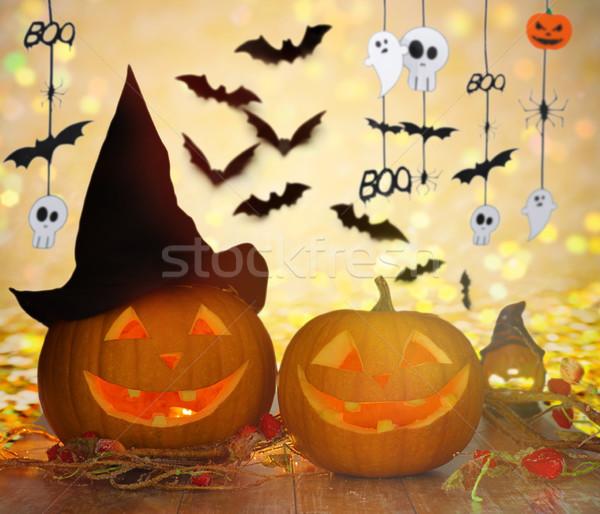 Kapelusz czarownicy halloween girlanda wakacje dekoracji Zdjęcia stock © dolgachov