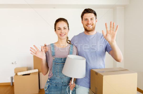 Сток-фото: пару · коробки · лампы · движущихся · новый · дом · ипотечный