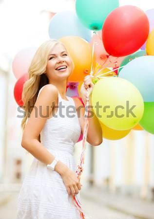 Photo stock: Heureux · femme · robe · hélium · air · ballons