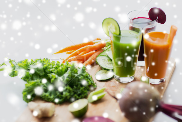 glasses with different vegetable fresh juices Stock photo © dolgachov