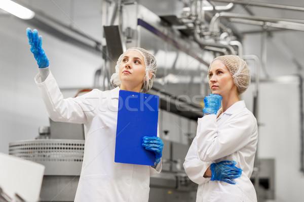 women technologists at ice cream factory Stock photo © dolgachov