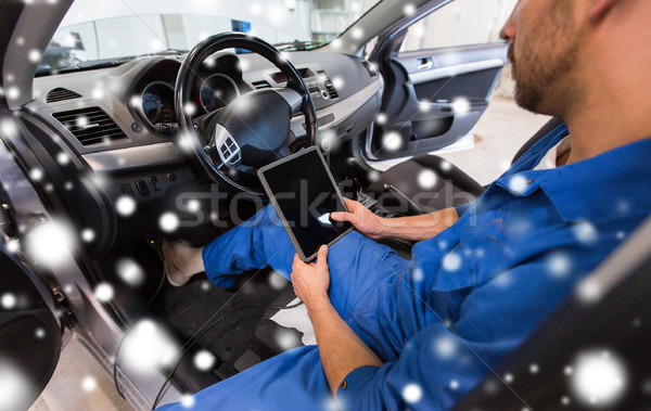 mechanic man with tablet pc making car diagnostic Stock photo © dolgachov