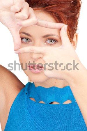 Mulher pare gesto brilhante quadro Foto stock © dolgachov