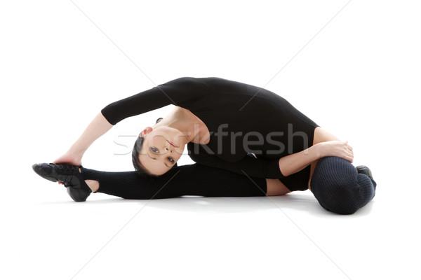 fitness in black leotard #3 Stock photo © dolgachov