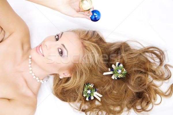 ストックフォト: 女性 · クリスマス · 装飾 · 画像 · 顔 · セクシー