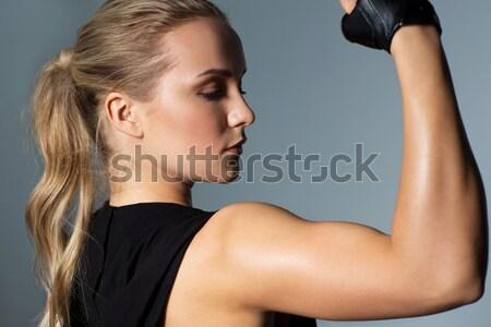 Stok fotoğraf: Siyah · eldiven · çıplak · kadın · beyaz · çıplak · moda