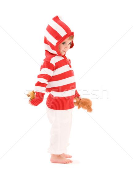Petite fille photos peluche jouets blanche enfant Photo stock © dolgachov