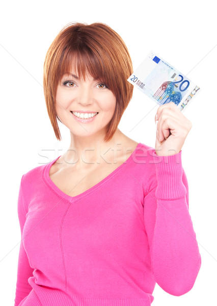 Stock photo: lovely woman with cash money
