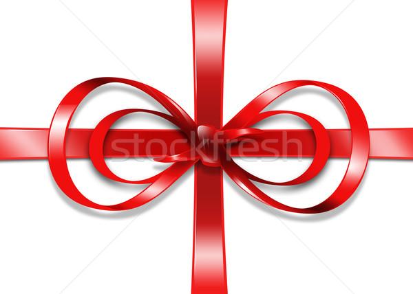 red gift ribbon and bow Stock photo © dolgachov