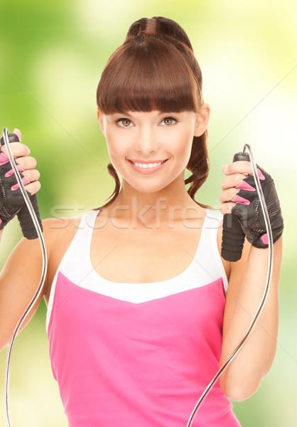 Fitnessz oktató ugrókötél nő lány test Stock fotó © dolgachov