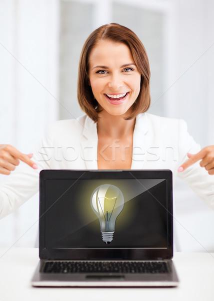 Mosolygó nő laptop pc oktatás üzlet technológia Stock fotó © dolgachov