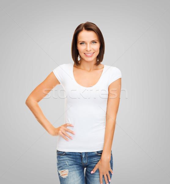 woman in blank white t-shirt Stock photo © dolgachov