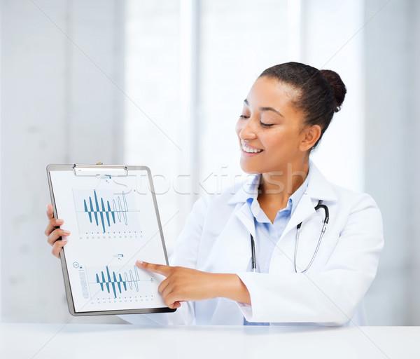 doctor pointing to cardiogram Stock photo © dolgachov