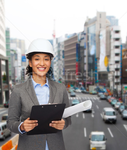Сток-фото: деловая · женщина · белый · шлема · буфер · обмена · здании · развивающийся