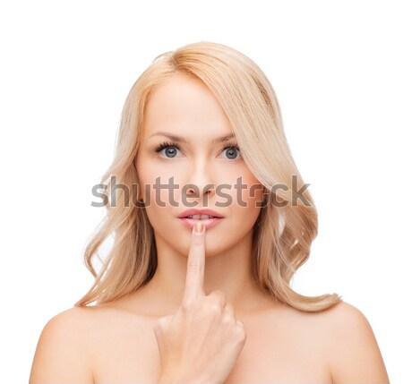 Vrouw aanraken lippen gezondheid schoonheid mooie vrouw Stockfoto © dolgachov