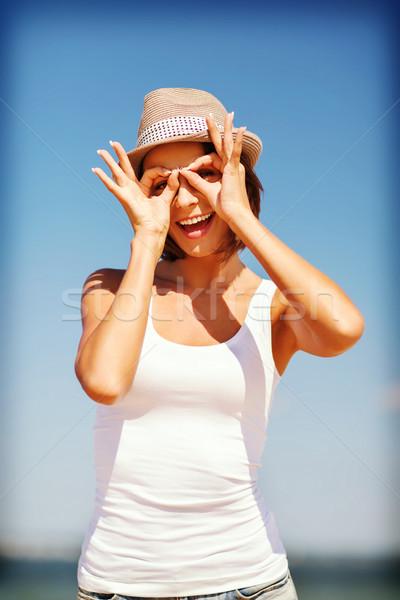 Stock fotó: Lány · készít · vicces · arcok · tengerpart · nyár