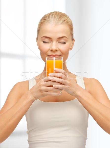 Stockfoto: Jonge · vrouw · drinken · sinaasappelsap · voedsel · gezondheidszorg · dieet