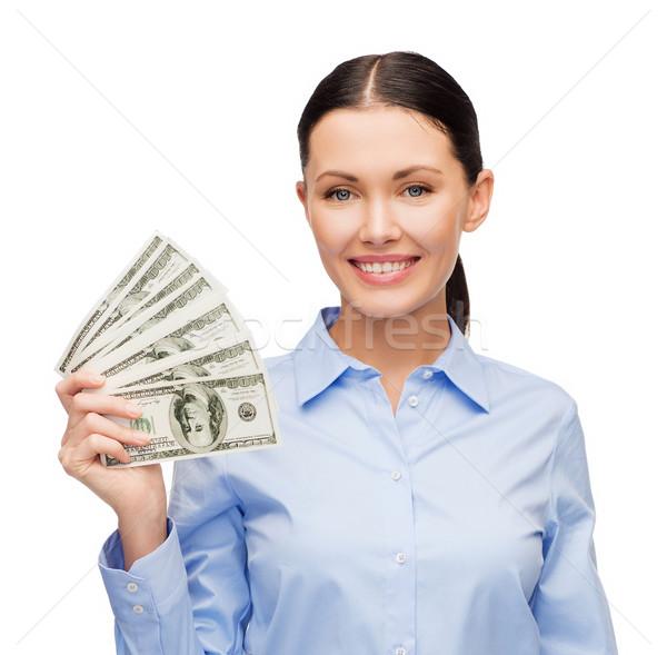 Femme d'affaires dollar trésorerie argent affaires jeunes Photo stock © dolgachov