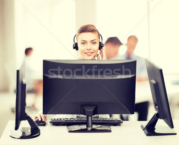 Amistoso femenino línea de ayuda operador auriculares Foto stock © dolgachov