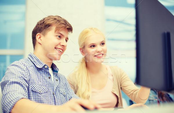 Mosolyog tizenéves fiú lány számítógép osztály technológia Stock fotó © dolgachov