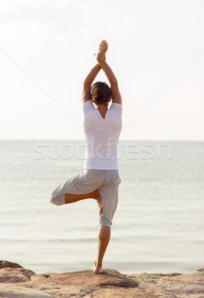 Foto stock: Moço · ioga · ao · ar · livre · fitness · esportes