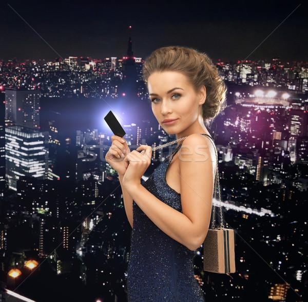 Mulher vestido de noite vip cartão festa celebração Foto stock © dolgachov