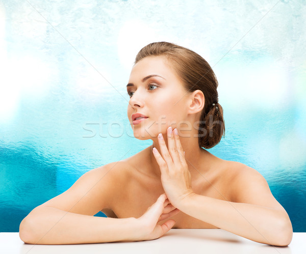 smiling woman with clean perfect skin Stock photo © dolgachov
