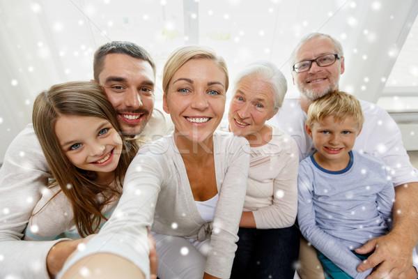 Gelukkig gezin home familie technologie generatie Stockfoto © dolgachov