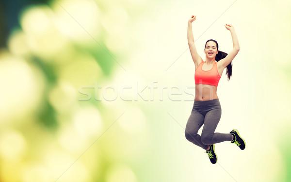 Sportos tinilány ugrik sportruha fitnessz diéta Stock fotó © dolgachov